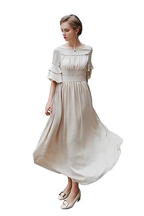 974d78066f7 VOA Women s Short Sleeve Ruffle Off-White Scoop Neck Silk Maxi Dress ...