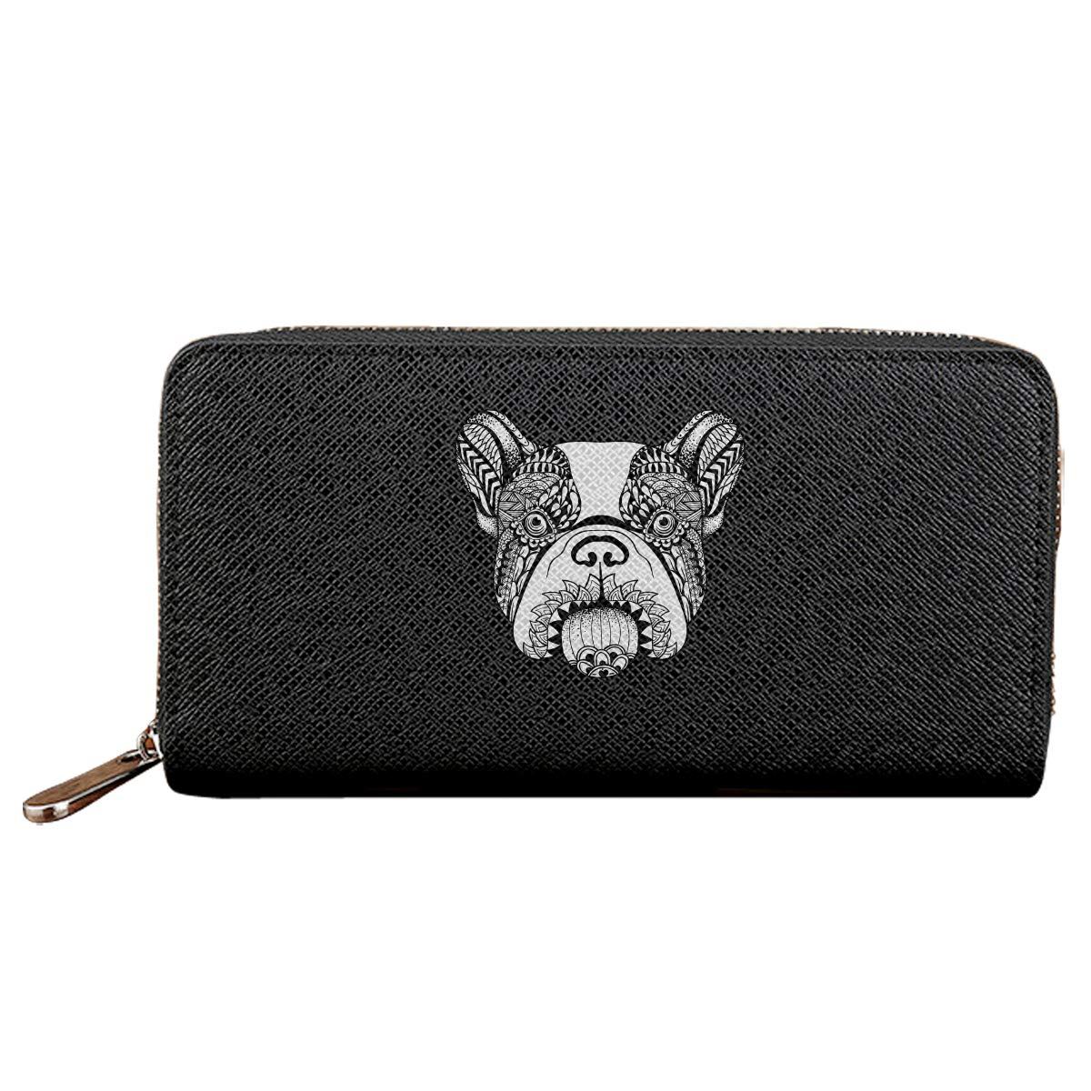 Cara Bulldog Long Wallets For Men Women Leather Wallet Unique Zipper Wallet