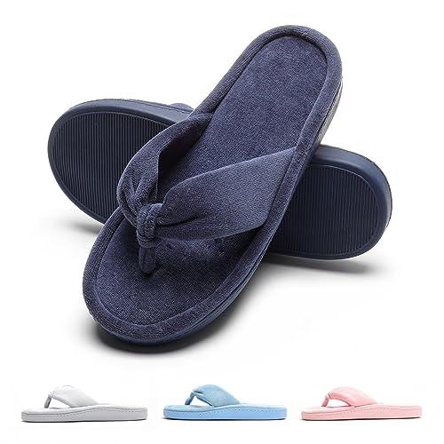 8506a9eb0f99 Women s Plush Flip Flop Flat Thong Slippers Sandals Comfy Velvet House  Shoes Cotton Anti-Slip Cute Home Indoor Slip On Memory Foam Summer Winter