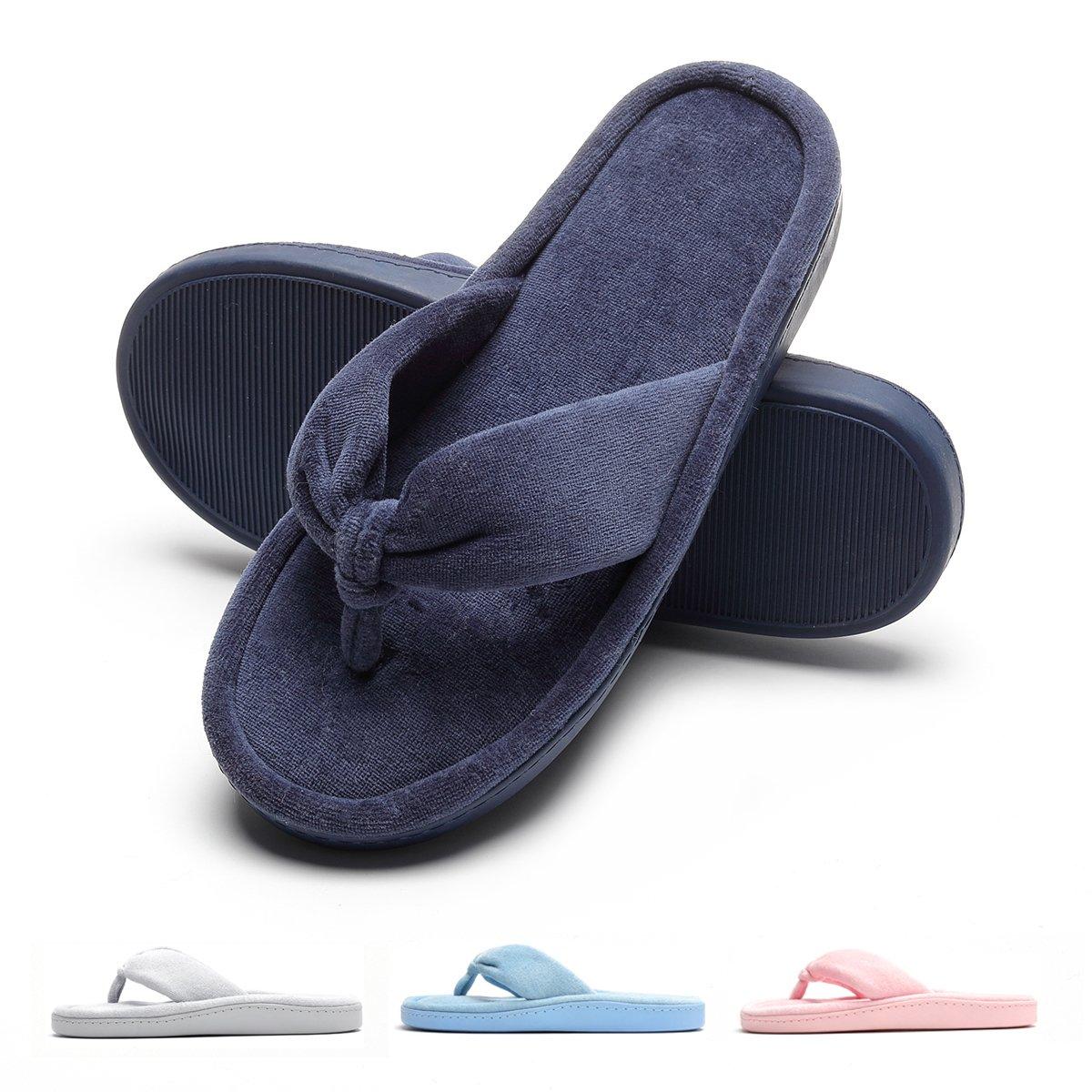 Women's Antibacterial Velvet Cozy Comfy Slippers Soft Anti Slip TPR Rubber Sole Navy Blue L