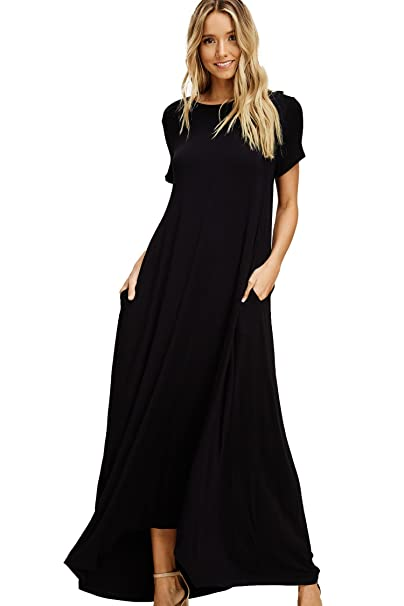 764a5d8b932f Annabelle Women's Short Sleeve Round Neck Uneven Hem Full Length Dresss  with Pockets Black Small D5418