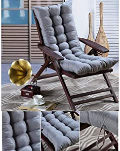 YQ WHJB Rocking Chair Cushion with Ties,Thicken High Back Chair Pad,Solid Color Patio One-Piece Seat Cushions Overstuffed Indoor Outdoor-Gray 45x115cm(18x45inch)