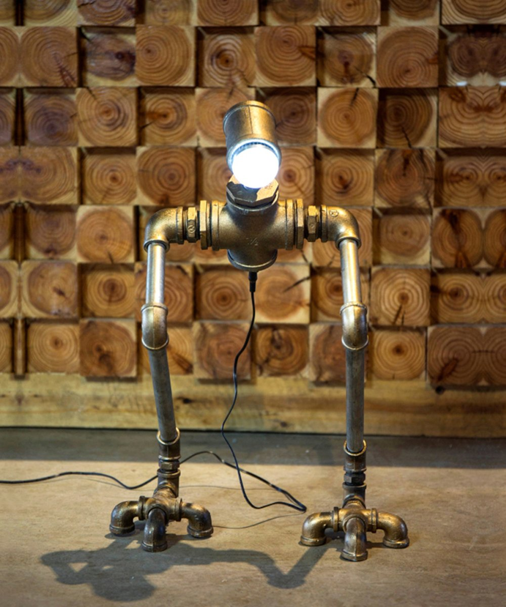 TOFAR Retro Robot Style Industrial Metal Pipe Table LED Light Desk Lamp Home Lighting Fixture