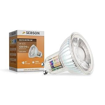 SEBSON® GU10 5W COB LED (Equivale de 35W, Calido Blanca, 420lm,