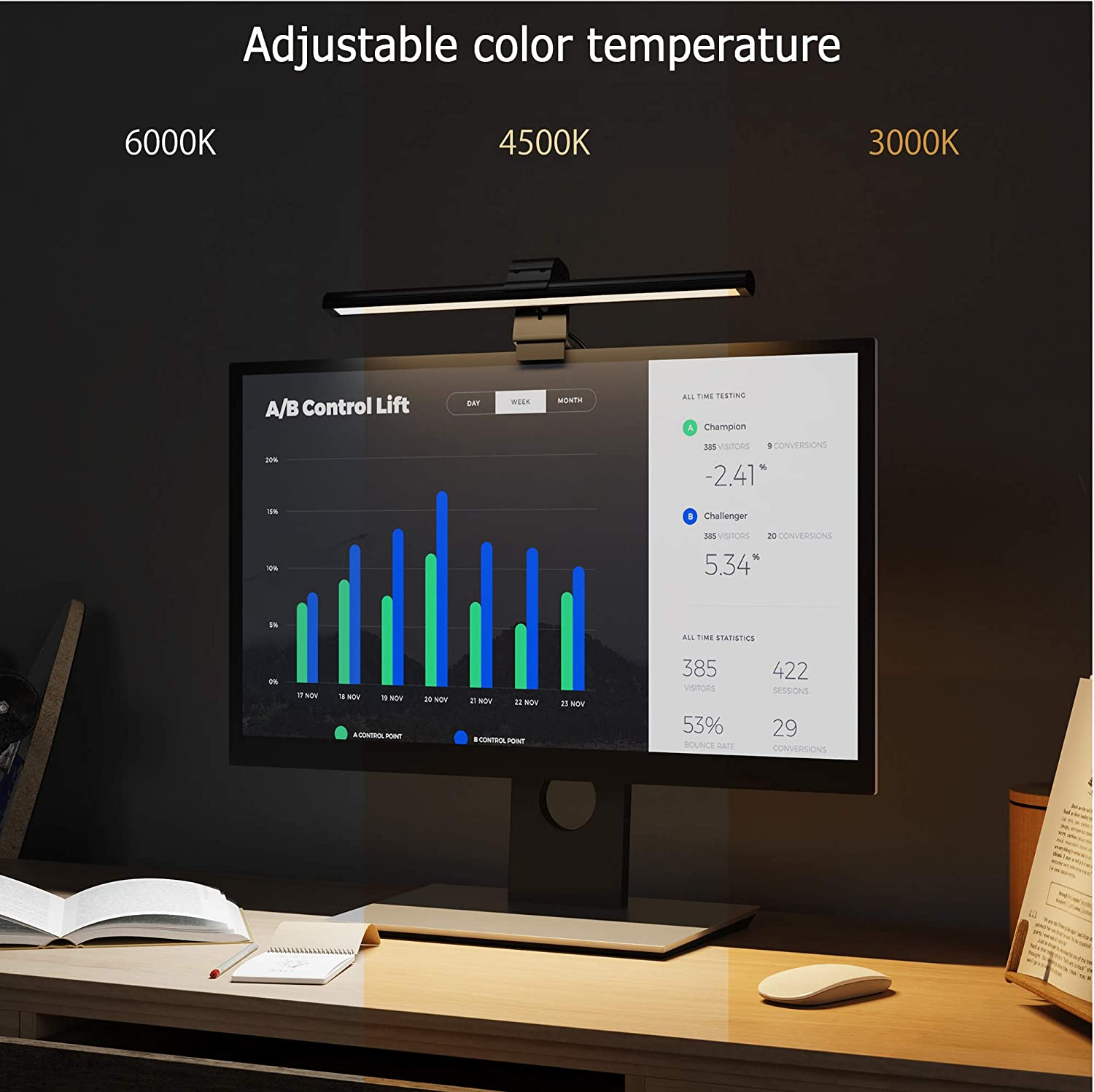 Space Saving Computer Monitor Light USB Powered Office Lamp Eye Protection 3 Color Modes LED Lights with Hue Adjustment Features No Screen Glare Screen Light Bar e-Reading LED Task Lamp Black