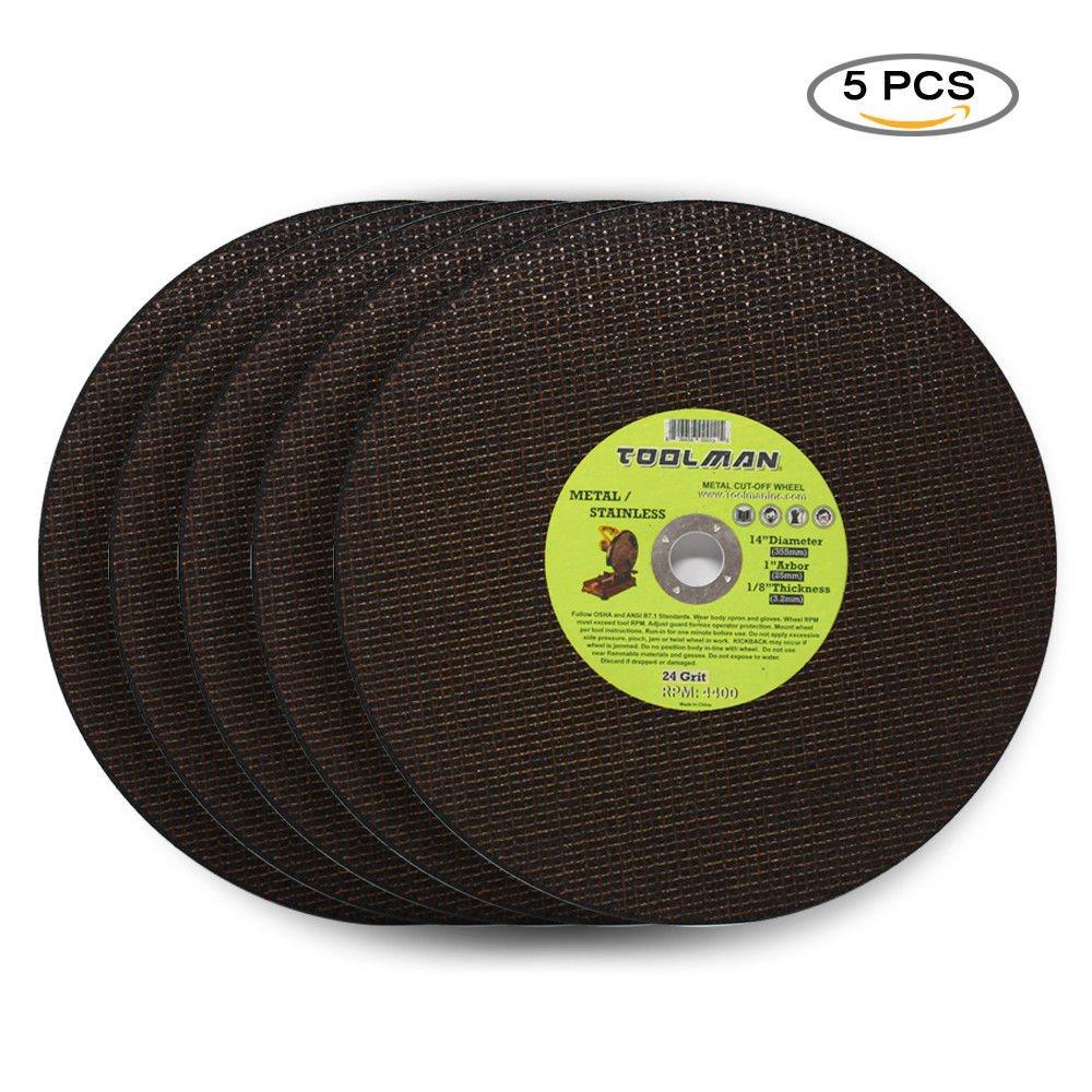 Toolman Premium Cut Off Cutting Wheel Universal fit 5pcs 24 Grit 5400 rpm - 14'' x 1'' x 1/8'' for metal and stainless steel works with DeWalt Makita Ryobi