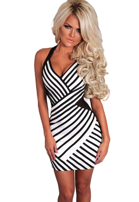 Fashion Secrets Women's Slim Fit Stripe Halterneck Mini Party Dress