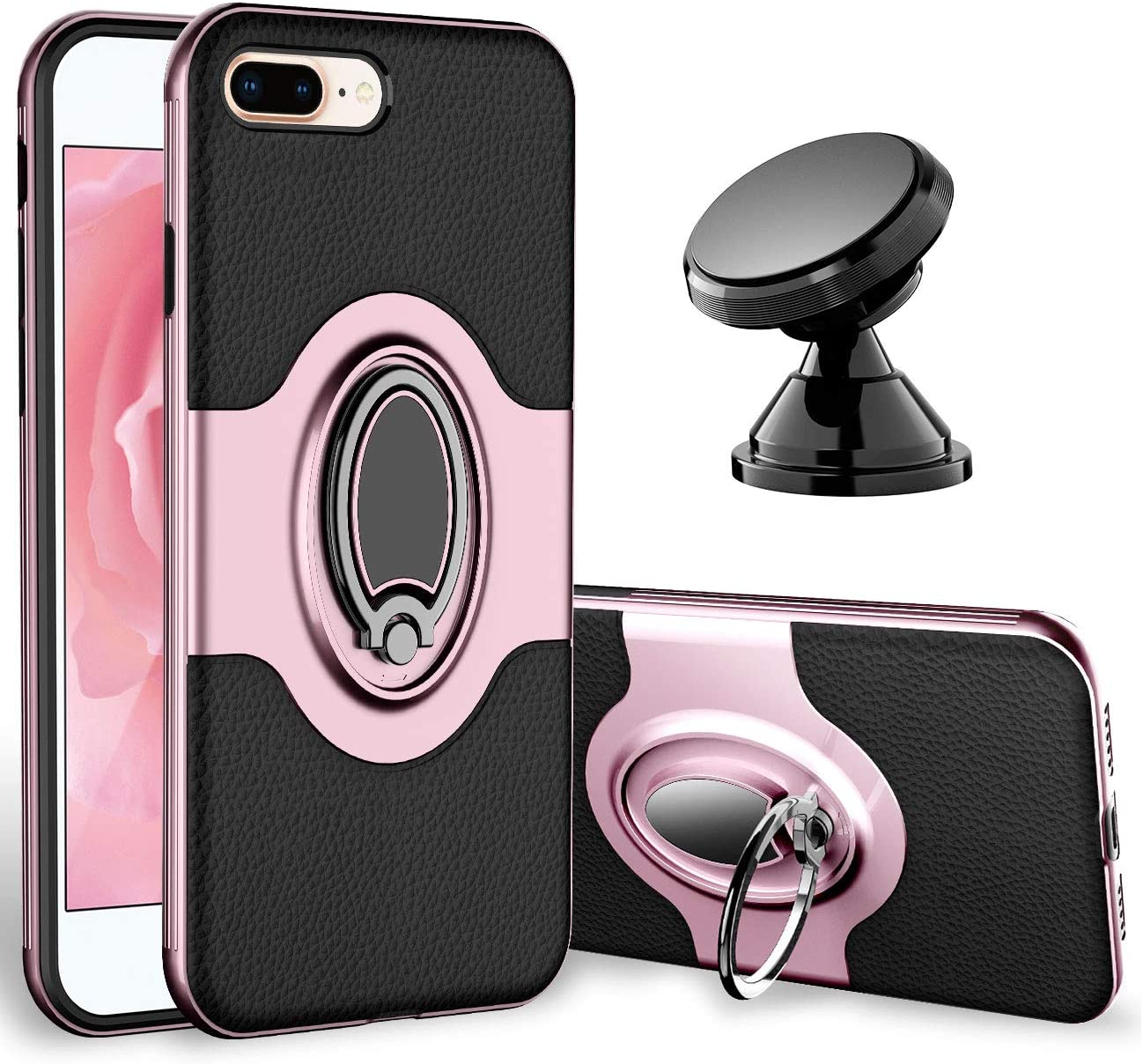 eSamcore iPhone 7 Plus Case, iPhone 8 Plus Case Ring Holder Kickstand Cases + Dashboard Magnetic Phone Car Mount for iPhone 7/8 Plus [Rose Gold]