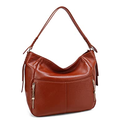 f811731443 Amazon.com  Women Hobo Bags Geya Leather Tote Shoulder Handbags Large Purses  for Lady Top Zip Closure with Tassel Adornment (Brown)  Geya bag