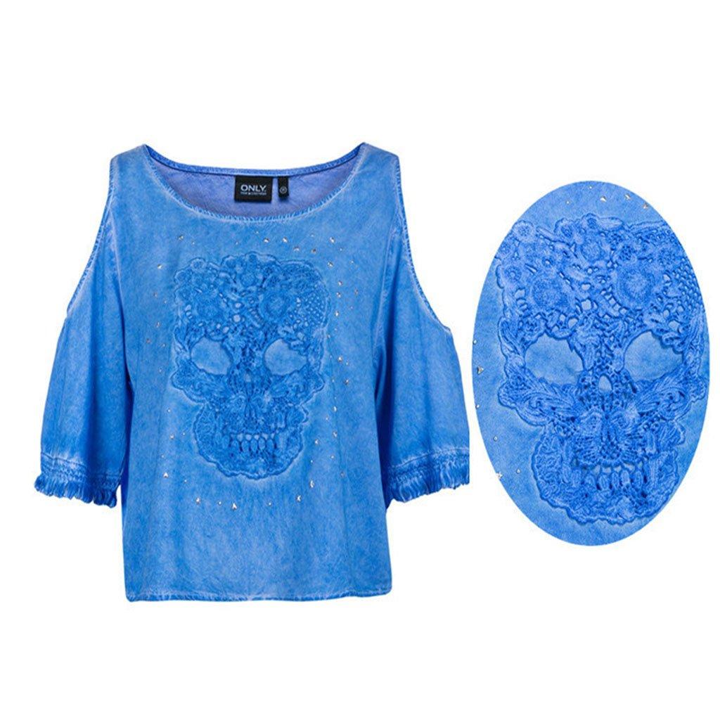 Vestido Aplique Ropa Bricolaje Calavera de Encaje Coser sobre Parche artesan/ía Tejido de Bordado rryilong