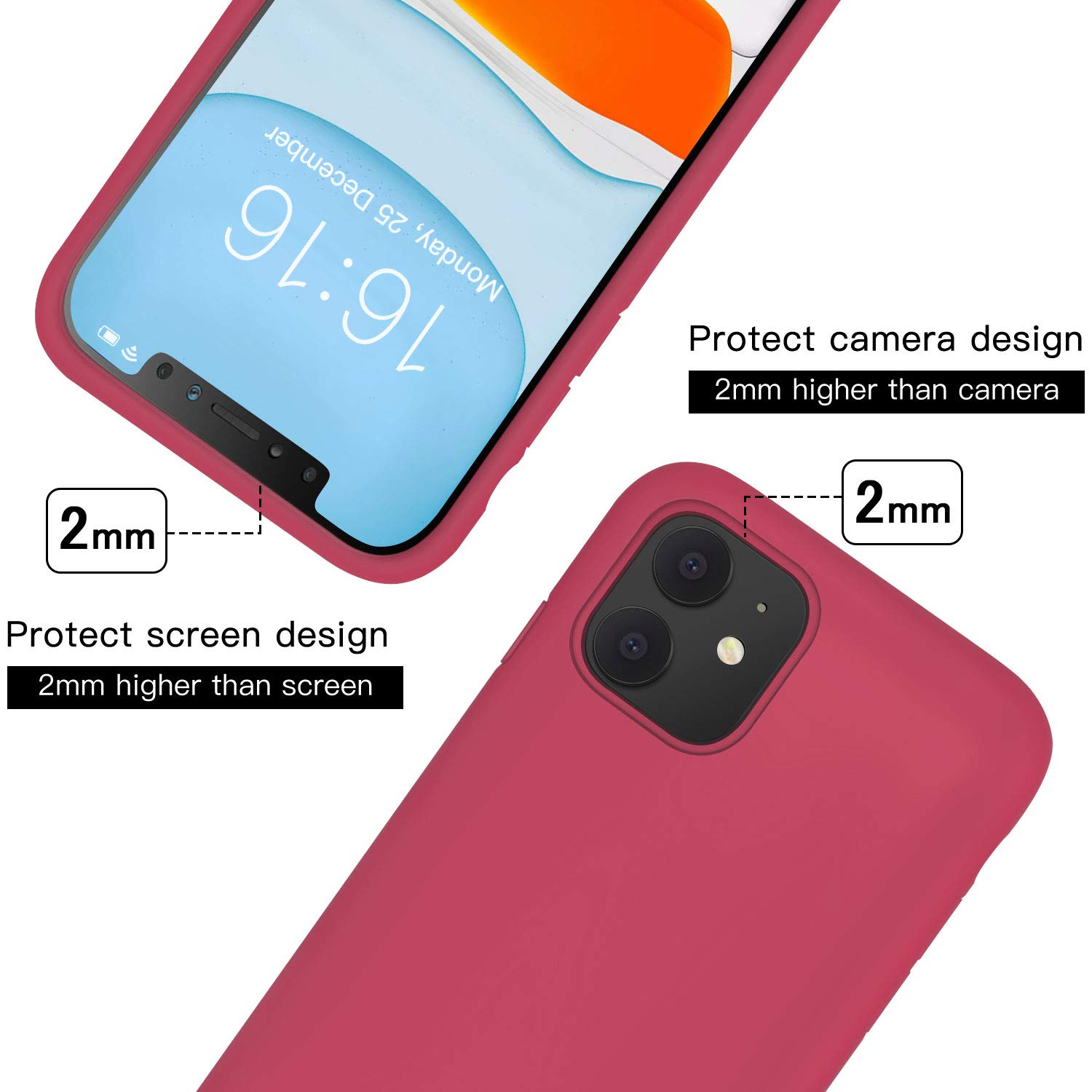 JASBON Case for iPhone 11 Case,Silicone Shockproof Phone Case with Free Screen Protector,Gel Rubber Case Full Body Protection Drop Protection Cover for iPhone 11 6.1 inch(2019)-Rose Red