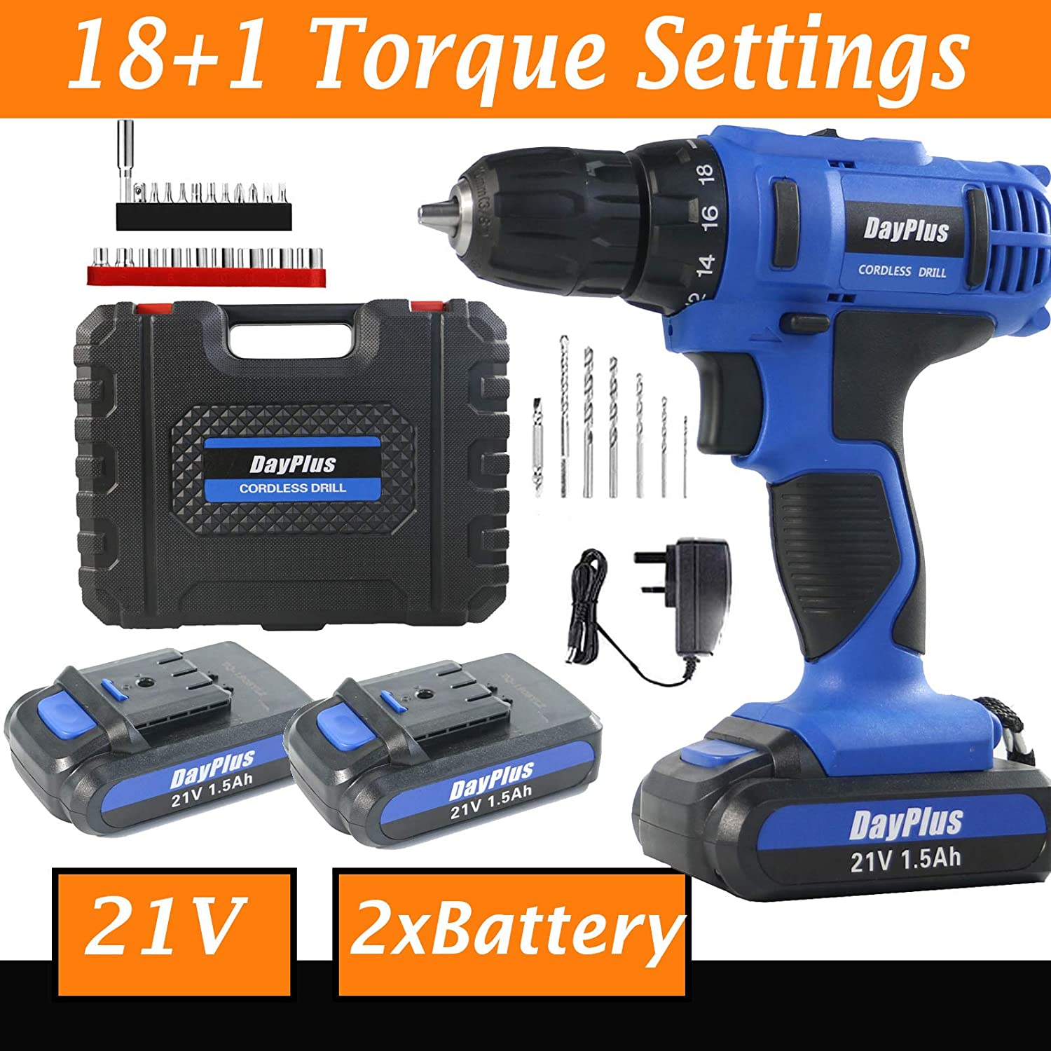 Power 2x21V Lithium Ion Rechargeable Battery Cordless Drill Battery, Power Drill Set w 3 8 Keyless Chuck, Variable Speed, 18 1 Position and 29pcs Drill Driver Bits, Fast Charger, Carry case