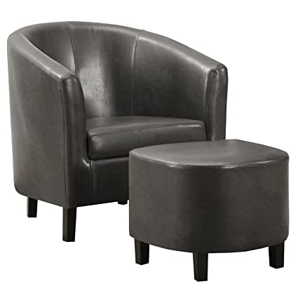 Ordinaire Monarch Specialties Charcoal Grey Leather Look Accent Chair And Ottoman,  30 Inch