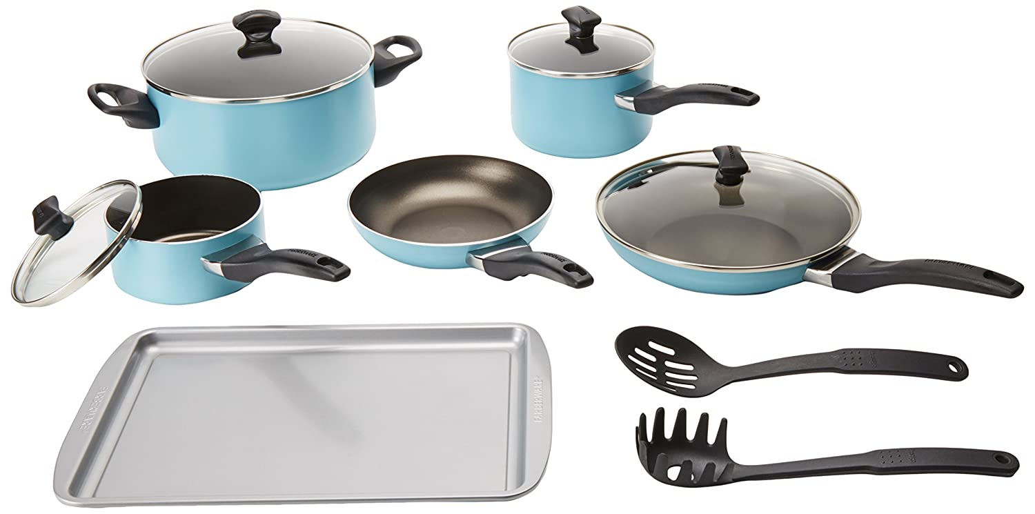 Farberware Dishwasher Safe Nonstick 15-Piece Cookware Set, Aqua