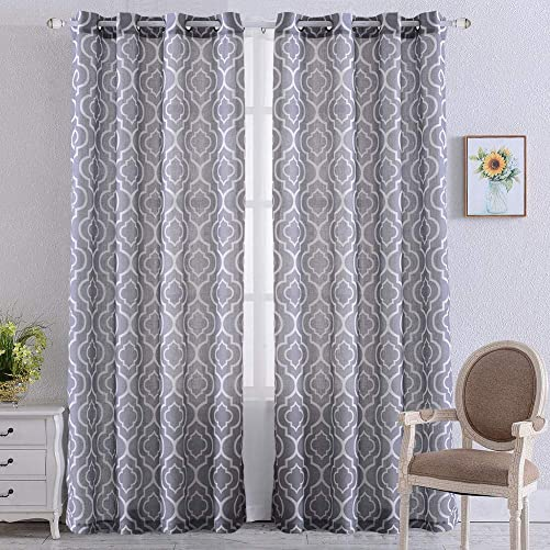 NANAN Moroccan Linen Curtains, Textured Flax Lattice Print Curtains for Living Room Bedroom Window Sun-Shade, Grommet Treatment Drapes for Dressing-Room – 52 W x 84 L – Grey, Set of 2 Panels