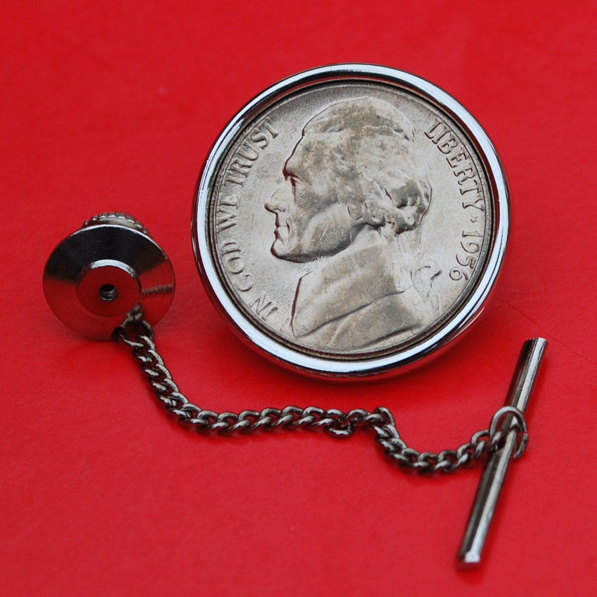 US 1956 Jefferson Nickel 5 Cent BU Uncirculated Coin Silver Plated Tie Tac Tack NEW
