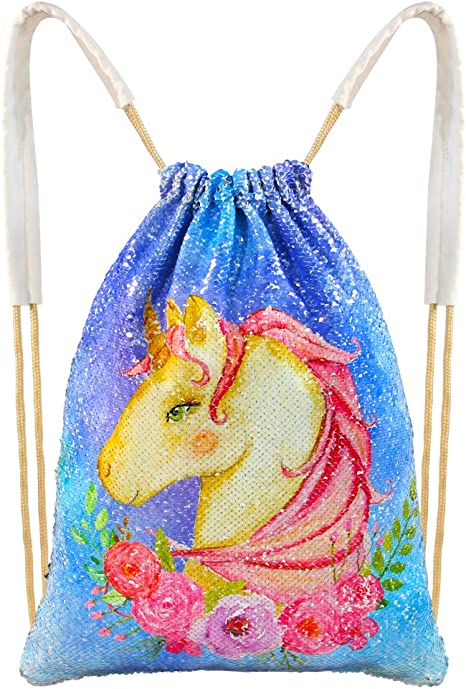Ladies Unicorn Canvas Sport Drawstring Backpack Girls Casual Shopping Gym Bag