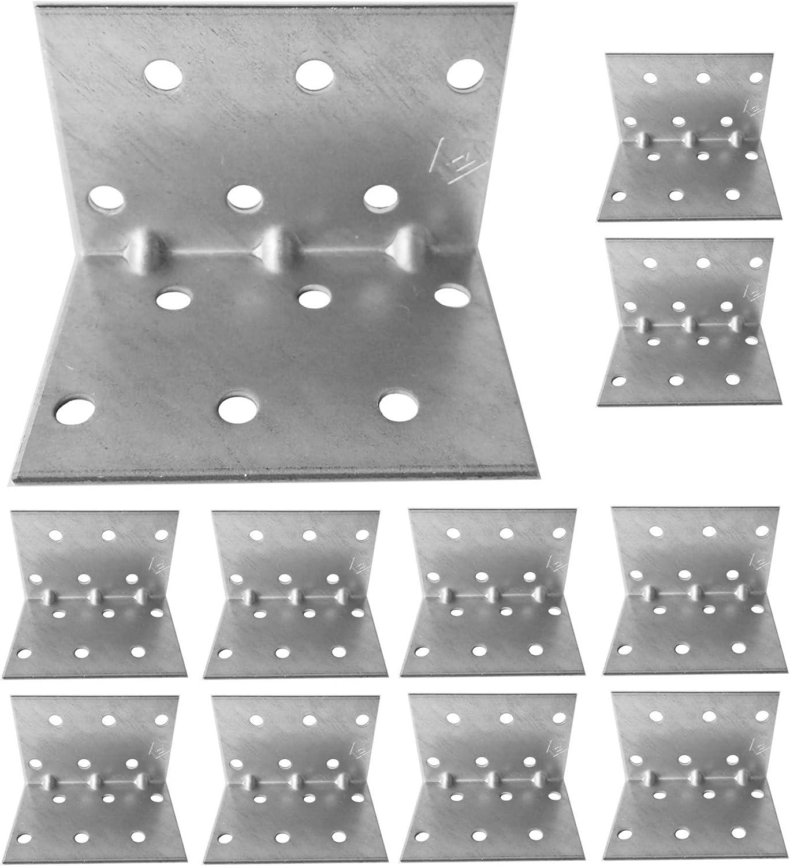 Lot de 10 /équerres de coin en bois robuste En t/ôle dacier galvanis/é 40 x 40 x 60 x 1,5 mm