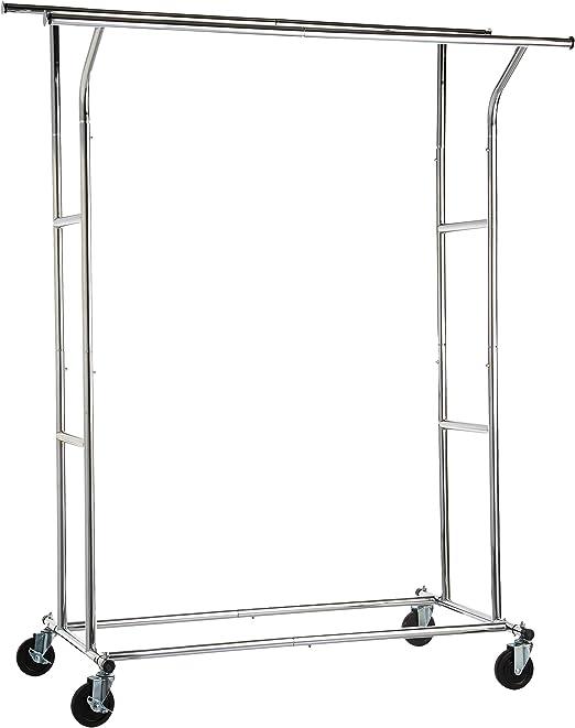 Amazon.com: AmazonBasics - Perchero con ruedas (doble carril ...