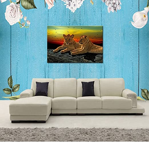 Animal World Series Wild Lioness and Lion Canvas Prints Modern Wall Art Paintings Animals Artwork for Room Decoration 24x36 inch Stretched and Framed