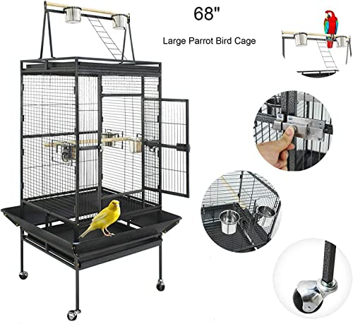 ZENY 68 Bird Cage Pet Birdcage Large Play Top Parrot Cockatiel Cockatoo Parakeet Finch Pet Supply