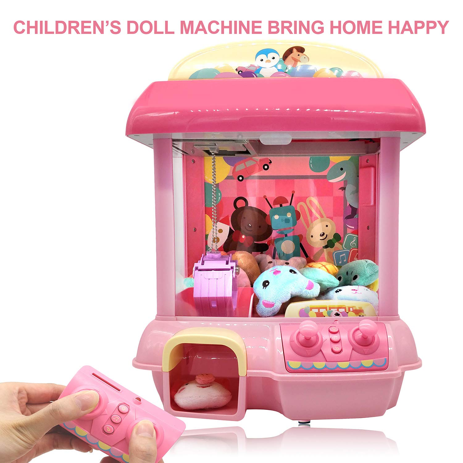 Claw Machine for Kids,Remote Control,Indoor Arcade Gams with Sounds and Lights,Funny Gift for Boys Girls (Pink)