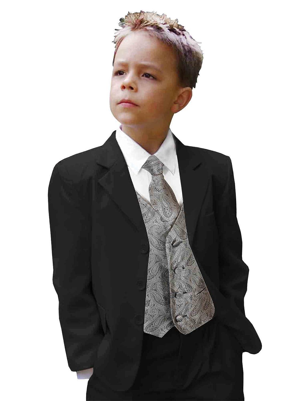 Paul Malone Black Boys Suit with Tuxedo Vest Set