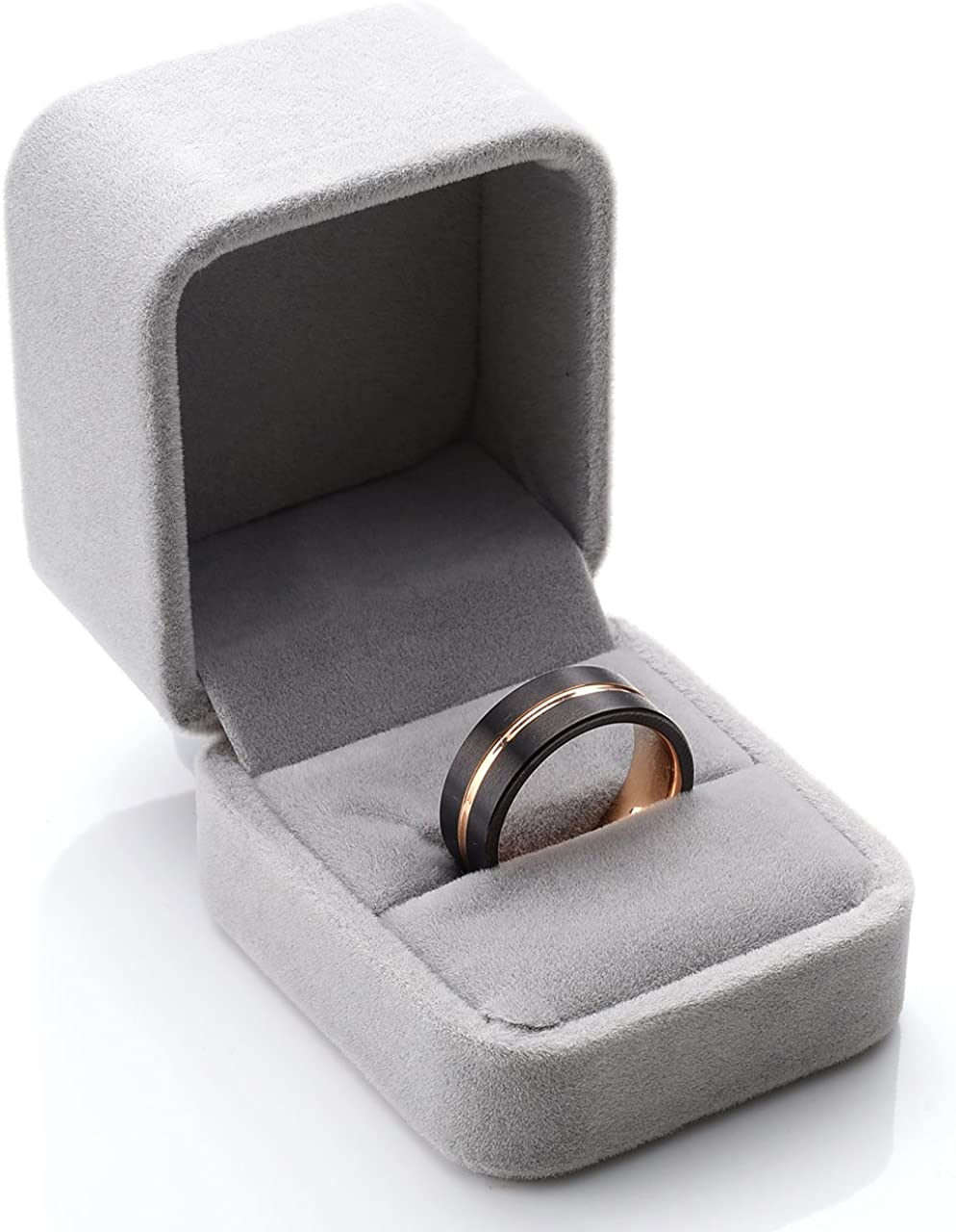 PiercingJ Valentines Gifts Mens 8mm Black Matte Finish Tungsten Carbide Wedding Band Rose Gold Plated Beveled Anniversary Engagement Rings US 8-12 Gift Box
