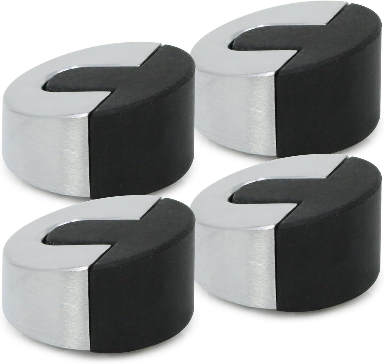 com-four/® 2 fermaporta arrotondati in Acciaio Inossidabile Opaco con tampone di Gomma e Materiale di Fissaggio 02 Pezzi di Acciaio Inossidabile Opaco - 5.6 x 4.6 x 1.8 cm