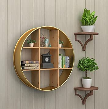 Amazon.com: Living Room Wall, Solid Wood Round Racks ...