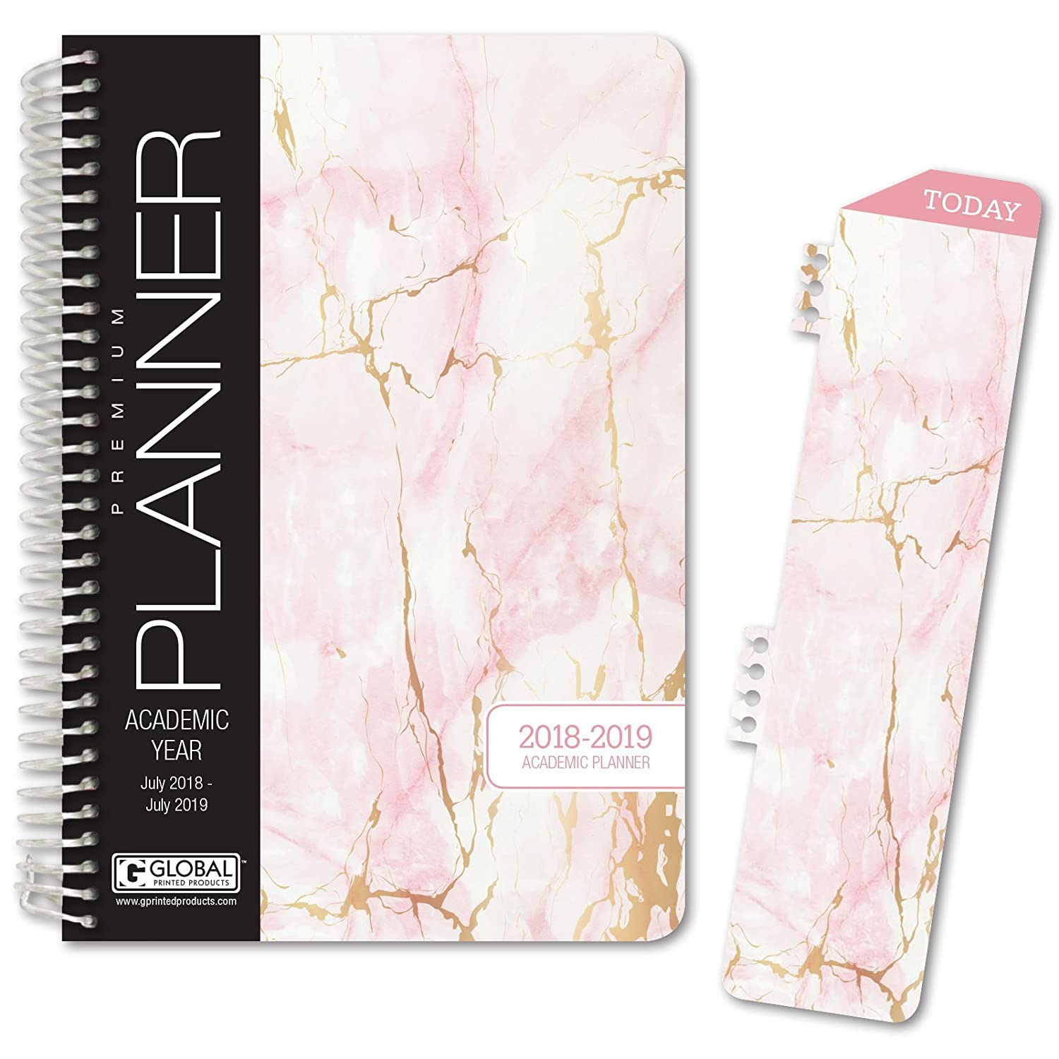 "Hardcover Academic Year Planner 2018 2019   5.5""X8"" Daily Planner/Weekly Planner/Monthly Planner/Yearly Agenda. Bonus Bookmark (Pink Marble) by Global Printed Products"