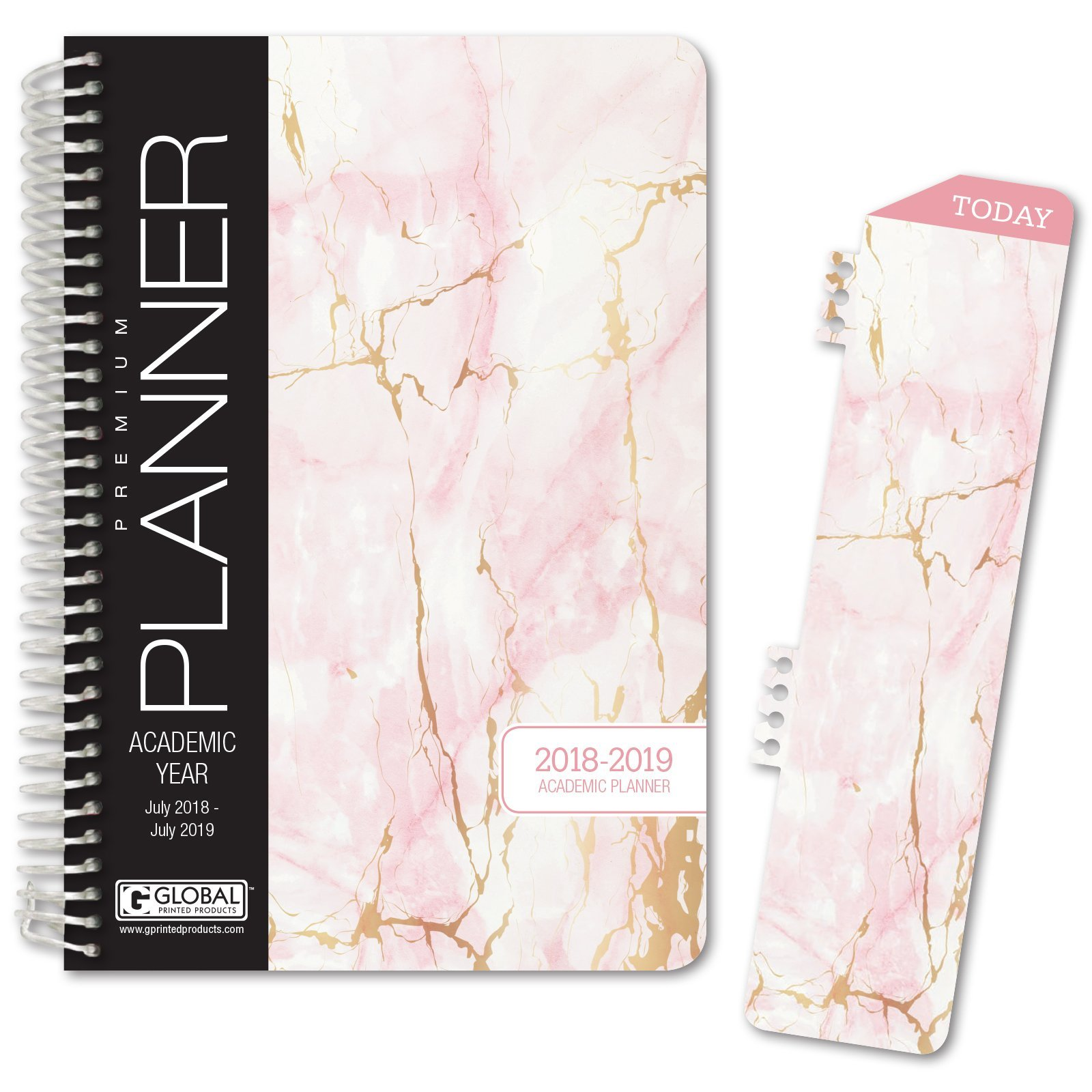 HARDCOVER Academic Year Planner 2018-2019 - 5.5''x8'' Daily Planner/Weekly Planner/Monthly Planner/Yearly Agenda. Bonus Bookmark (Pink Marble)