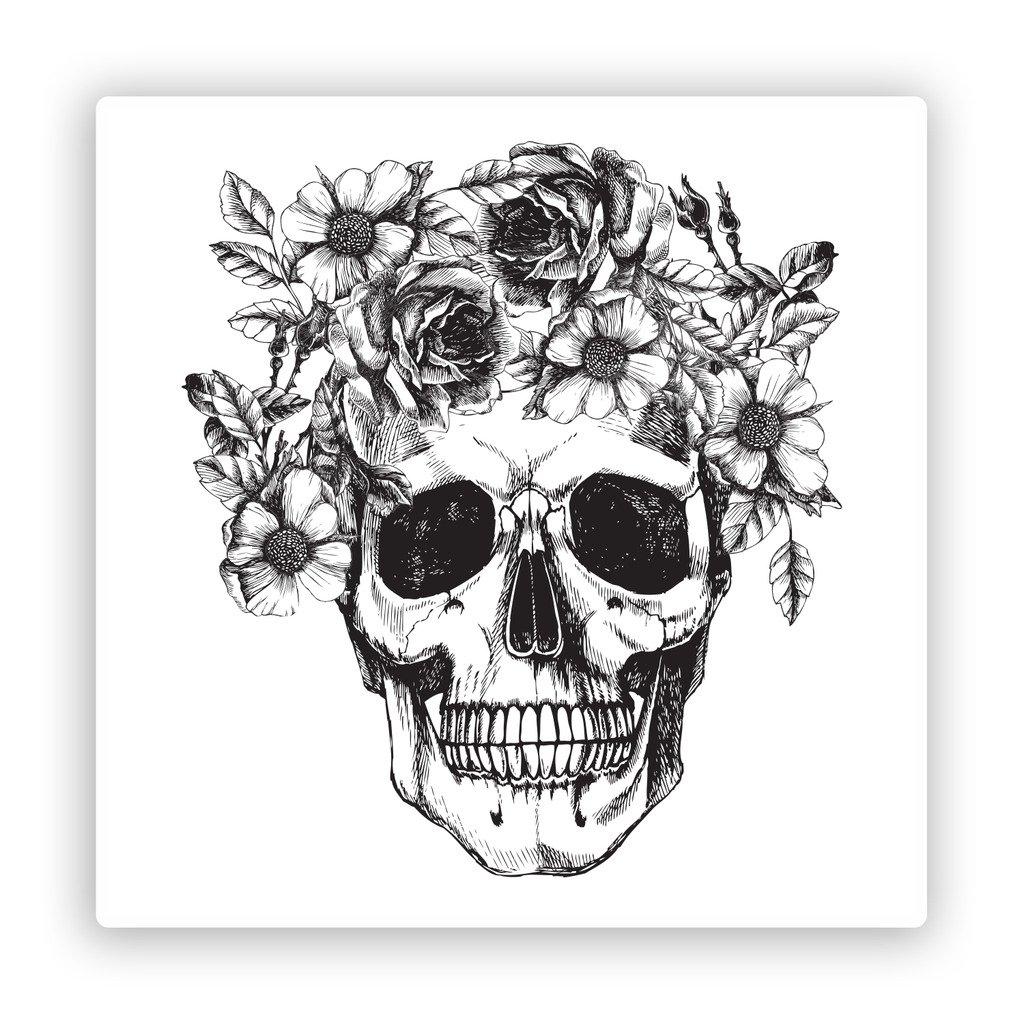 2/x Pegatinas de vinilo de calavera con flores Scary Halloween # 7406