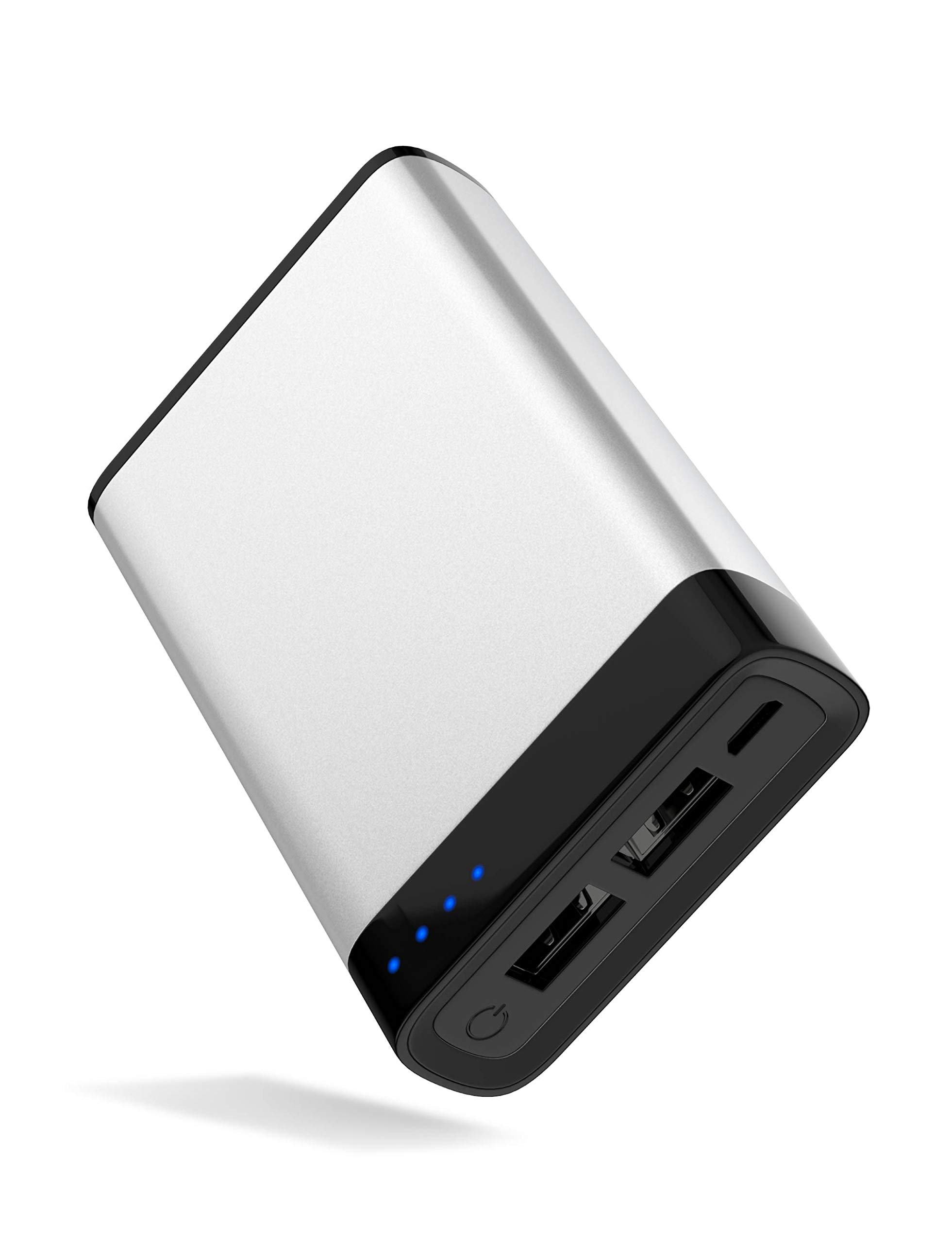 TalkWorks Portable Charger Power Bank USB Battery Pack 6000 mAh - External Cell Phone Backup Supply for Apple iPhone 12, 11, XR, XS, X, 8, 7, 6, SE, iPad, Android for Samsung Galaxy - Silver