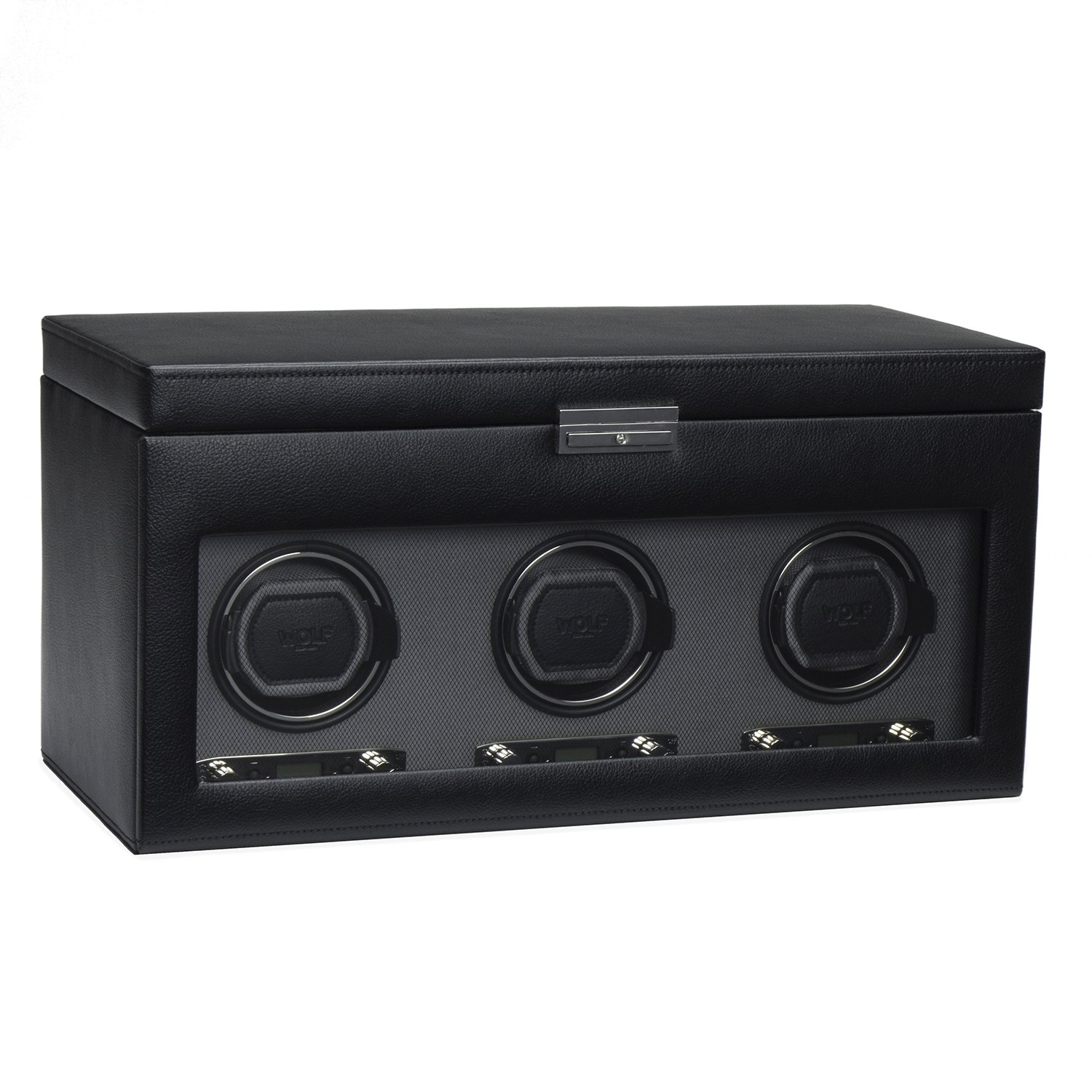 WOLF 456302 Viceroy Triple Watch Winder with Cover and Storage, Black