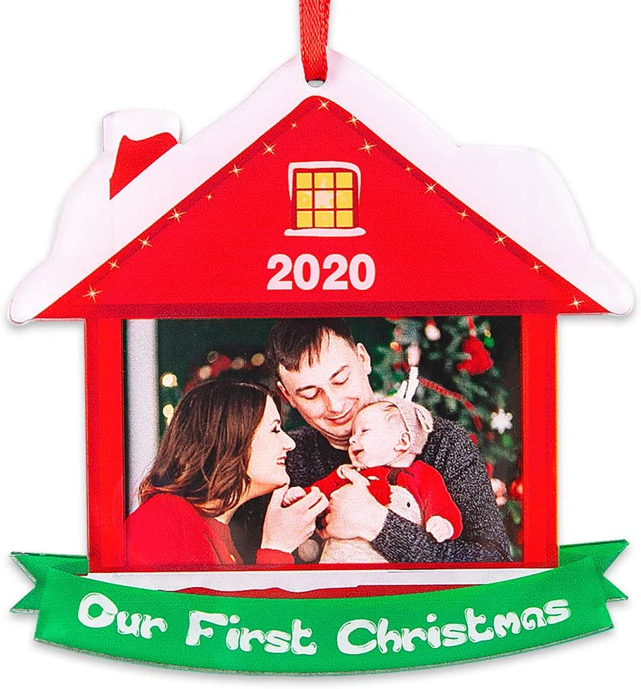 """SICOHOME Keepsake Christmas Ornament,2020 Year Dated, Our First Christmas Together Picture Frame, Photo Frame,3.5"""" House Shaped Photo Ornament"""