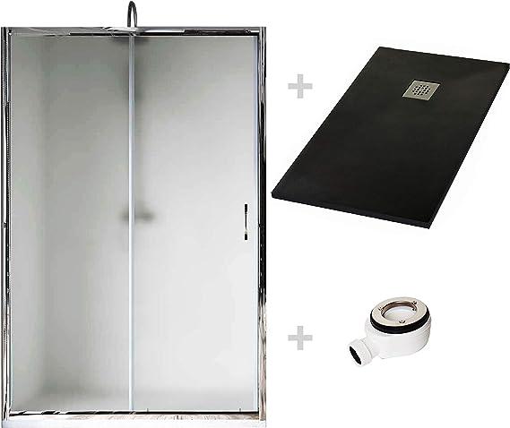Crocket Kit Mampara de Ducha Frontal New Carglass + Plato de Ducha de Resina Stone + Puerta Corredera Cristal - Incluye Sifón y Rejilla - Negro RAL 9005-70 x 170 (Adaptable 160 a 170 cm): Amazon.es: Hogar