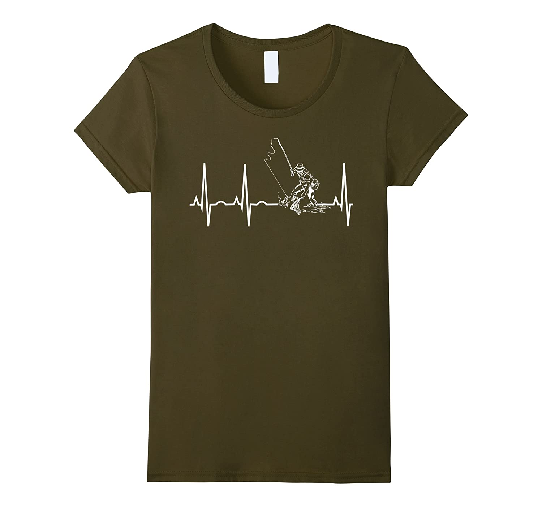 Mens Fishing Heartbeat T Shirt Fisherman-Awarplus