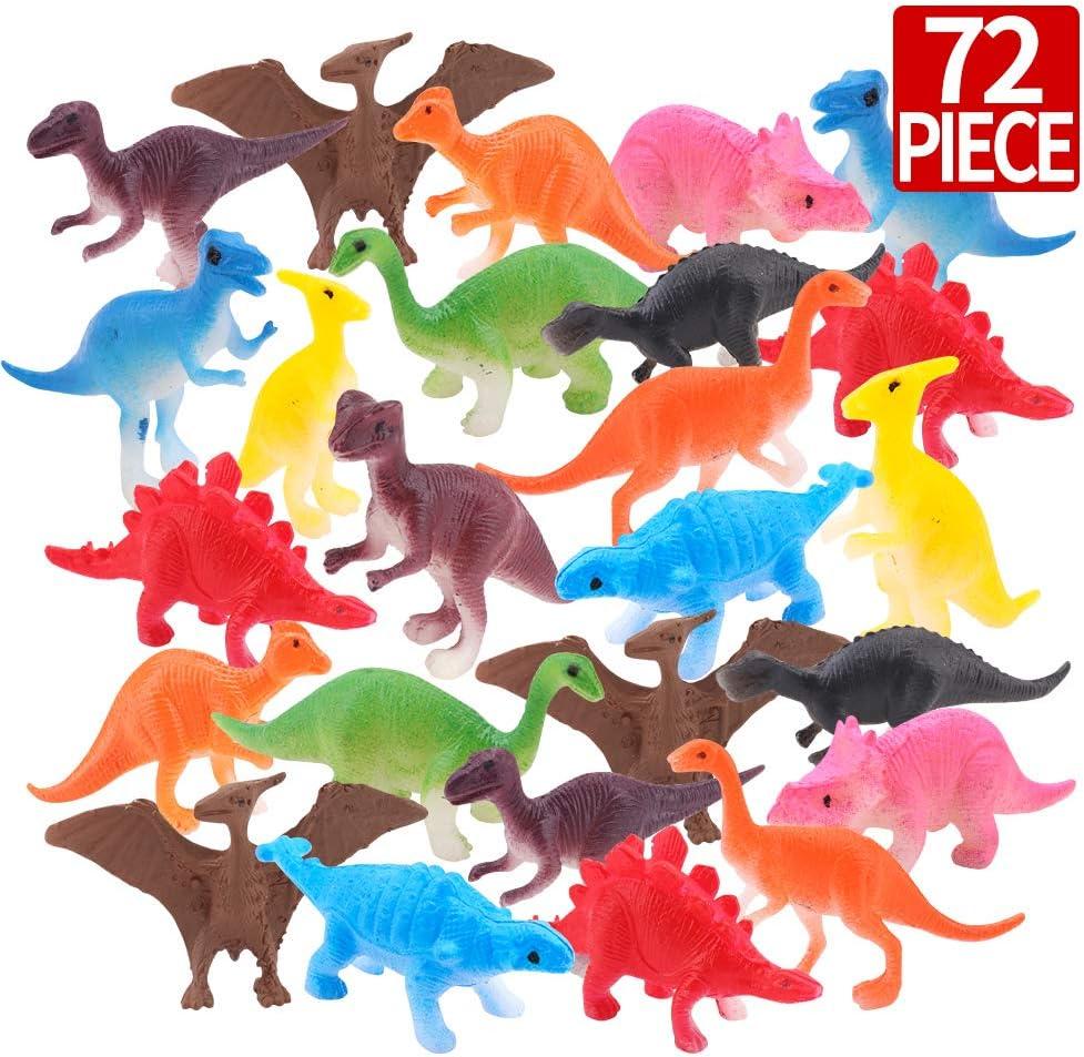 Amy & Benton Mini Giocattoli Dinosauro Set, 72 Pezzi Dinosauro Plastico di Dinosauro del Mondo per i Bambini 3 Anni, Giocattoli per Ragazzi Cupcake