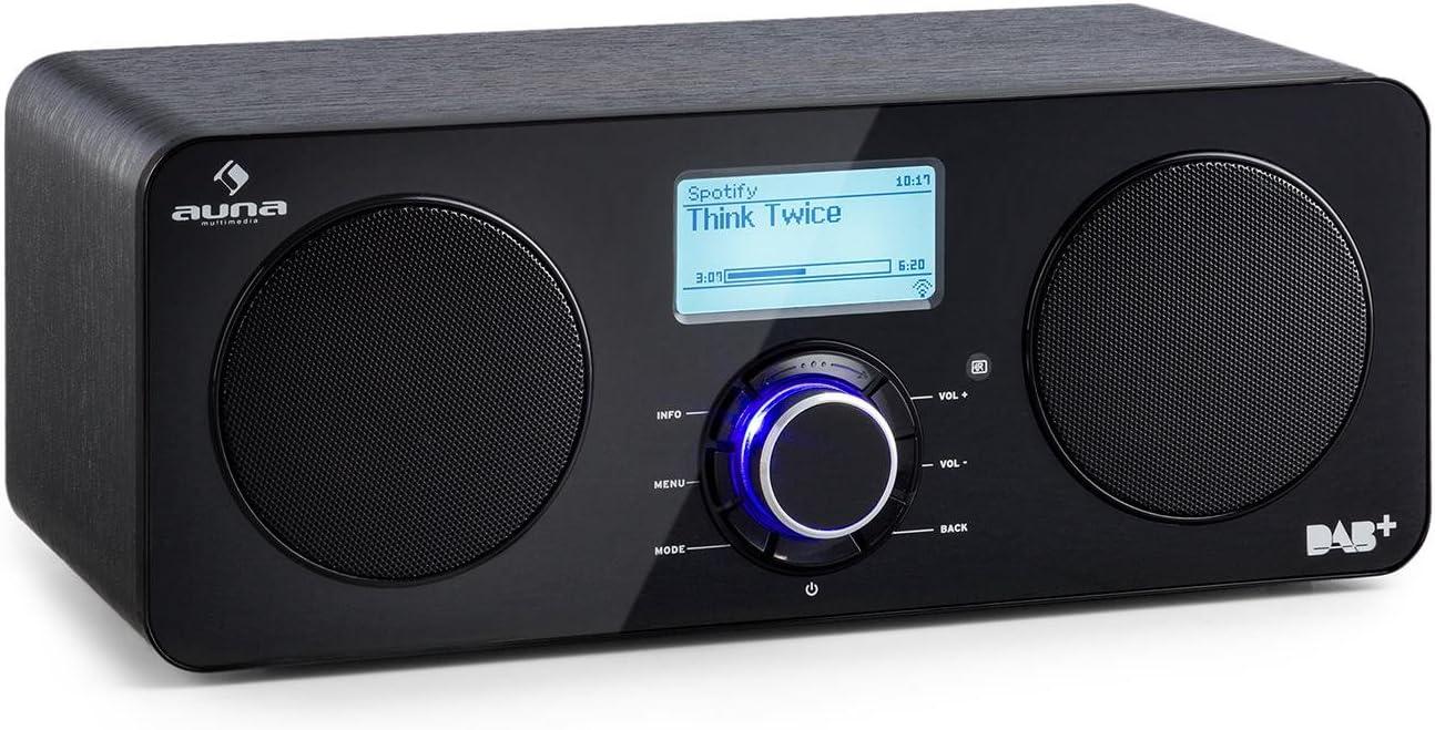 auna Worldwide ST - Radio con Internet, Radio Digital, Radio con wi-fi, Reproductor de Red, Dab/Dab+, FM/AW, RDS, Puerto USB con MP3, Autoapagado, Pantalla LCD, Mando Distancia, Negro