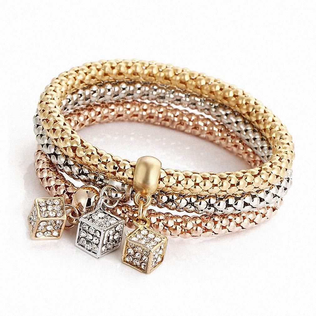 Hynsin 3 pcs//Set Crystal Butterfly Bracelet /& Bangle Multiple Shape Elastic Heart Bracelets for Women