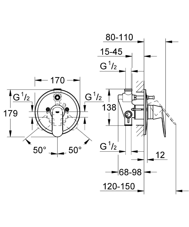 Parte Esterna Cromo Grohe 32879000 Miscelatore Monocomando ad Incasso per Vasca//Doccia con Deviatore