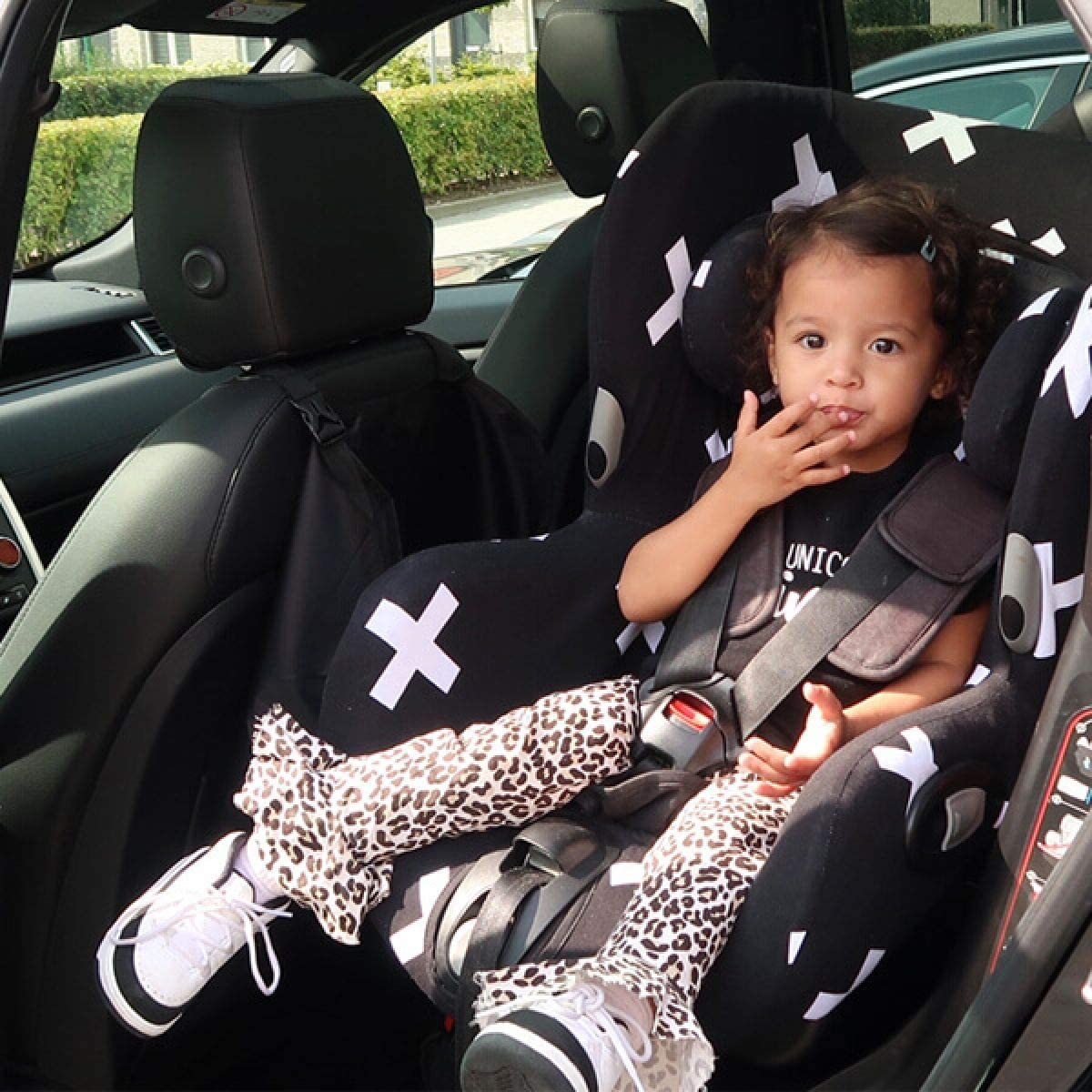 Housse Siege Auto Bebe Pour Coque Maxi Cosi Axiss Bebe Confort Protection Indispensable pour plus de Confort Coton Oeko-Tex Certifi/é Noir Monochrome