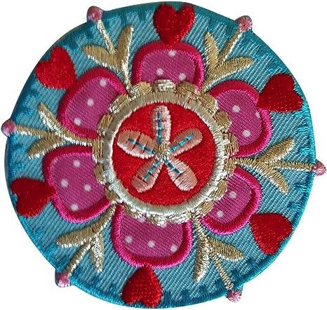 2 Parche de bordado o planchado Flores Alrededor 7X7Cm Motivo Redonda India 7X7Cm termoadhesivos bordados aplique para ropa con diseño de TrickyBoo Zurich Suiza por España: Amazon.es: Bebé