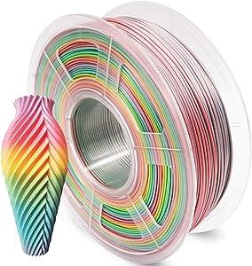 Aystkniet 3D Printer Pla Filament 1.75mm 1Kg, Multicolor Pla 3D Printing Filaments, Color Changing Rainbow Silk Dimensional Accuracy +/- 0.02mm