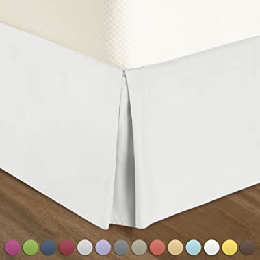 """Pleated Bed-Skirt Full Size Solid - White Luxury Double Brushed 100% Microfiber Dust Ruffle, 12"""" inch Tailored Drop by Urban Bed"""