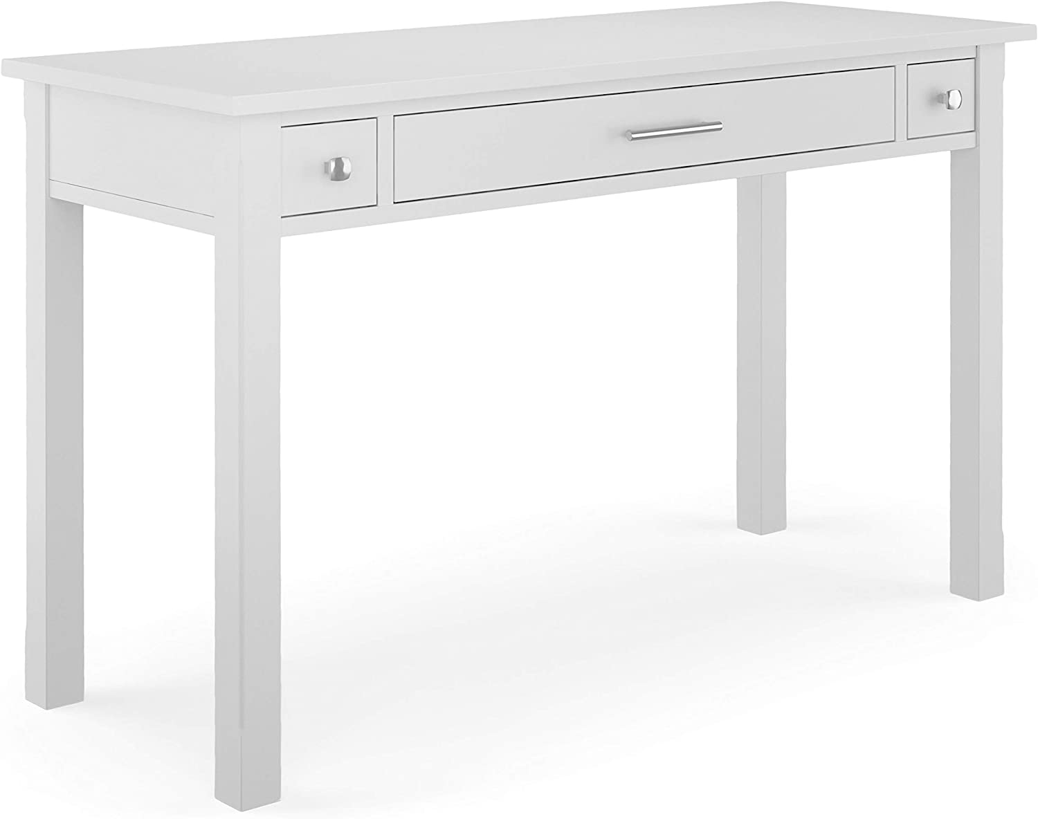 SIMPLIHOME Avalon SOLID WOOD Contemporary Modern 47 inch Wide Home Office Desk, Writing Table, Workstation, Study Table Furniture in White with 2 Drawerss