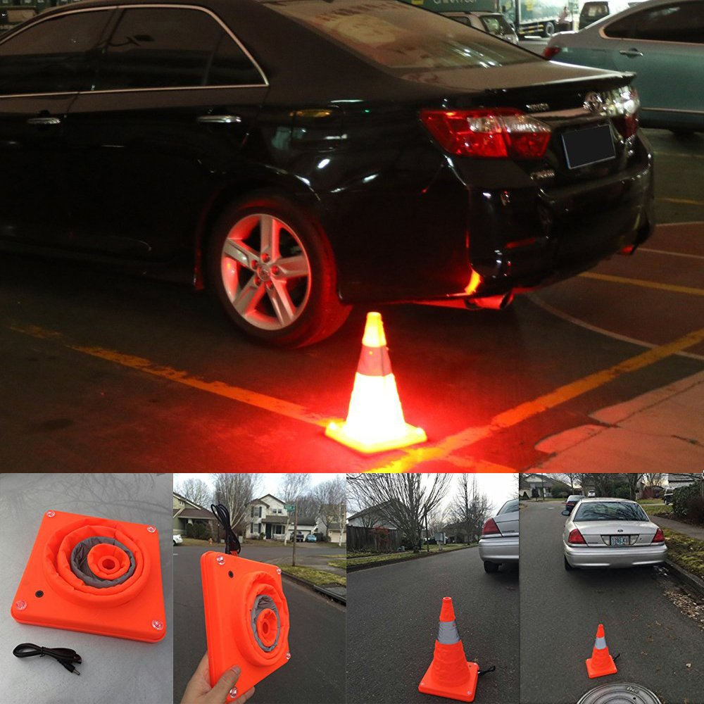 LED Traffic Cones LED road cones USB Rechargeable Safety Cones Foldable Collapsible Road Cones Work Area Protection Fluorescent Orange Cones With 3 Modes Lighting