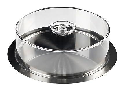 INOXIBAR Bandeja de Catering Circular con Tapa Transparente, 35 cm, Centimeters