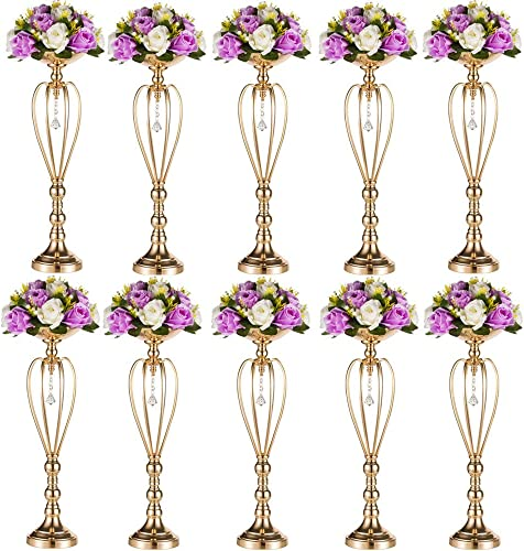 Nuptio Set of 10 Versatile Silver Flower Arrangement Stand Pillar Candle Holder Set